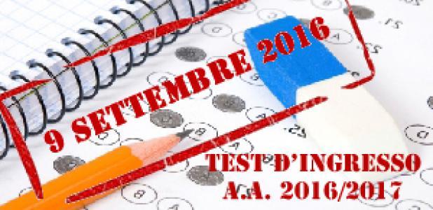 Test d'ingresso 9 settembre 2016